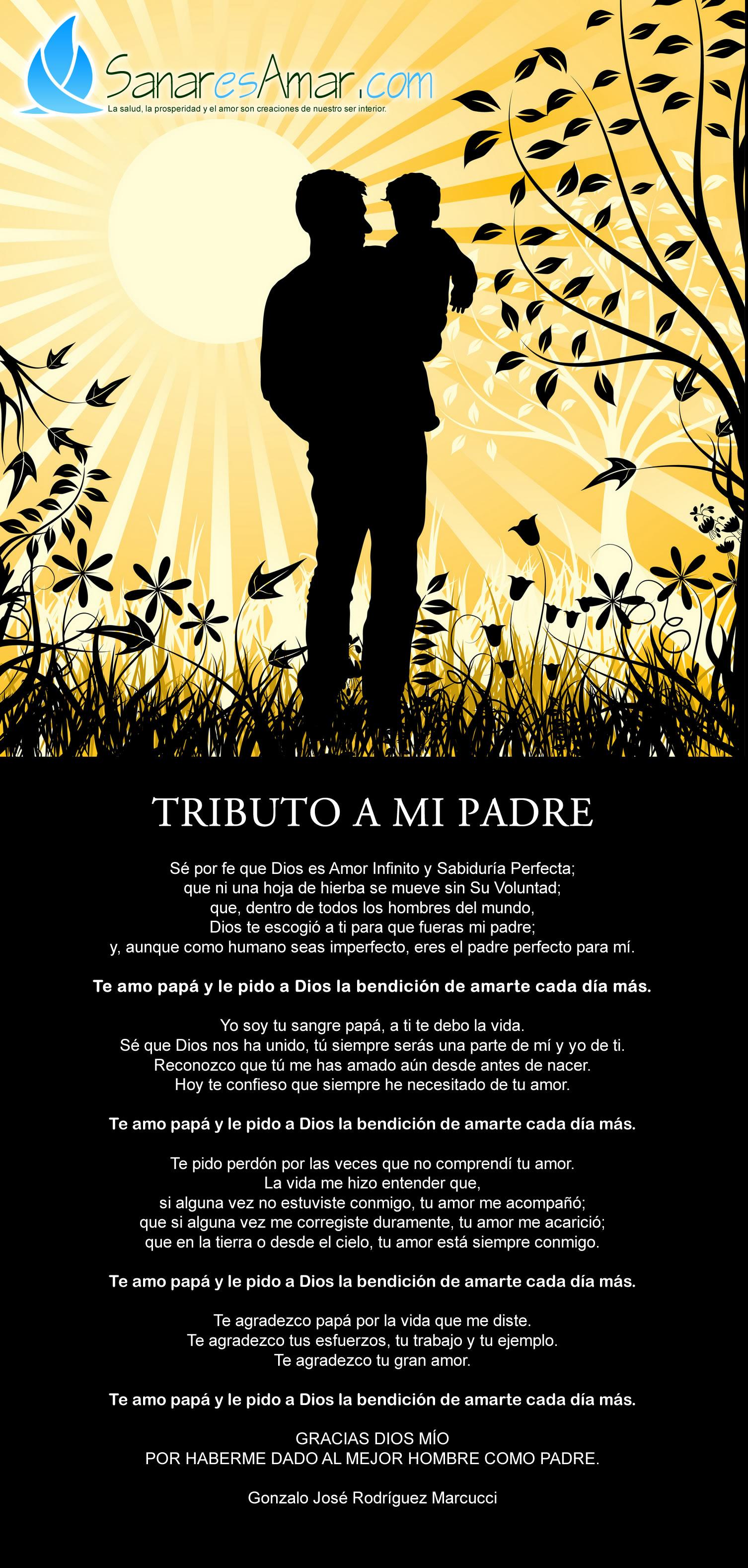 Sé por fe que Dios es Amor Infinito y Sabiduría Perfecta; que ni una hoja de hierba se mueve sin Su Voluntad; que, dentro de todos los hombres del mundo,  Dios te escogió a ti para que fueras mi padre; y, aunque como humano seas imperfecto, eres el padre perfecto para mí.  Te amo papá y le pido a Dios la bendición de amarte cada día más.  Yo soy tu sangre papá, a ti te debo la vida.  Sé que Dios nos ha unido, tú siempre serás una parte de mí y yo de ti.  Reconozco que tú me has amado aún desde antes de nacer. Hoy te confieso que siempre he necesitado de tu amor.  Te amo papá y le pido a Dios la bendición de amarte cada día más.  Te pido perdón por las veces que no comprendí tu amor. La vida me hizo entender que,  si alguna vez no estuviste conmigo, tu amor me acompañó; que si alguna vez me corregiste duramente, tu amor me acarició; que en la tierra o desde el cielo, tu amor está siempre conmigo.  Te amo papá y le pido a Dios la bendición de amarte cada día más.  Te agradezco papá por la vida que me diste. Te agradezco tus esfuerzos, tu trabajo y tu ejemplo. Te agradezco tu gran amor.  Te amo papá y le pido a Dios la bendición de amarte cada día más.  GRACIAS DIOS MÍO POR HABERME DADO AL MEJOR HOMBRE COMO PADRE.  Gonzalo José Rodríguez Marcucci